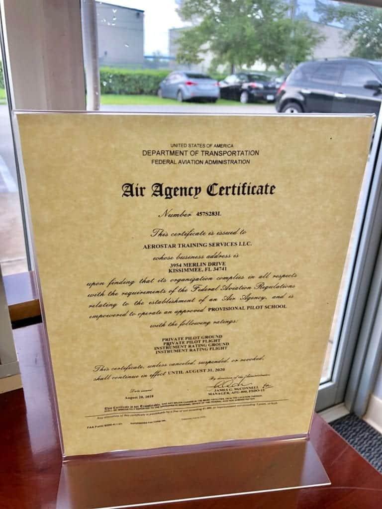 Part 141 Certificate