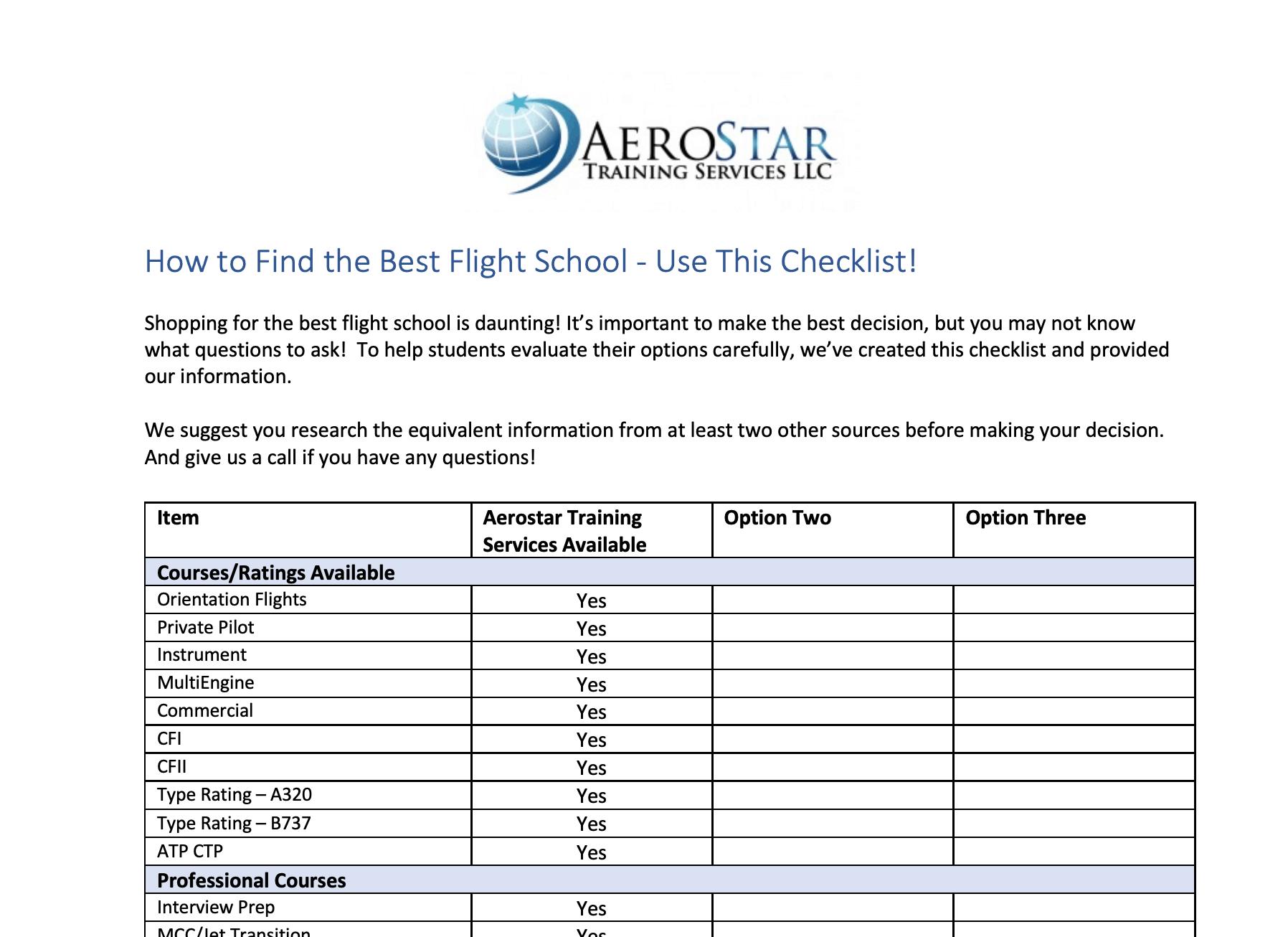 How to Find the Best Flight School - Checklist